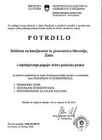Skeniran certifikat o izpolnjevanju pogojev dobre kmetijske prakse