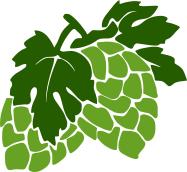 Ikona: Storžek hmelja v dveh barvah (temnozeleni listi in svetlo zeleni storžek)